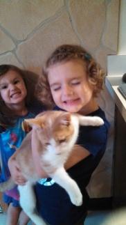 Lorelei loves her kitties. Photo bombed by Jolan!!